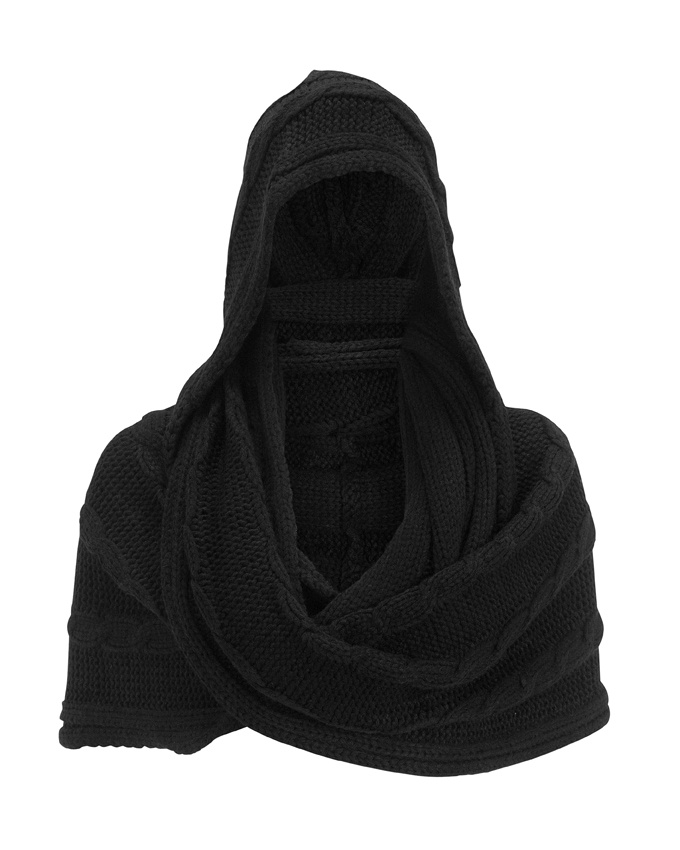 Knitted hooded wrap...