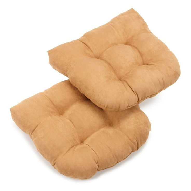 Blazing Needles Microsuede U-Shaped Indoor Chair Cushion - Set of 2 Camel - 93184-2CH-MS-CM
