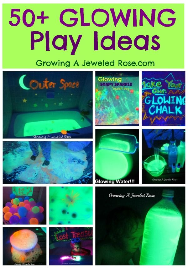 50+ GLOWING Play Ideas for kids!  My little ones have had so much FUN with these activities!: For Kids, Glow Ideas, Glow Plays, Play Ideas, Parties Ideas, Plays Ideas, Black Lights, Jewels Rose, Glow Parties