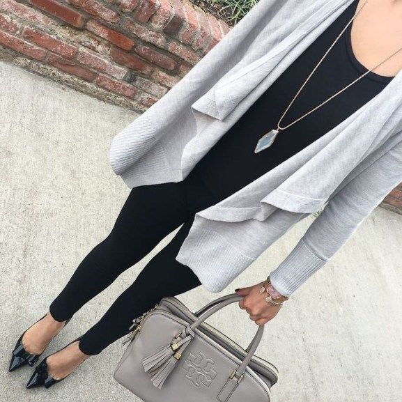 Fancy Work Outfits Ideas With Black Leggings To Copy Right Now