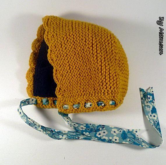 Béguin rétro vintage tricoté main (3 mois) jaune moutarde doublé polaire bleu marine