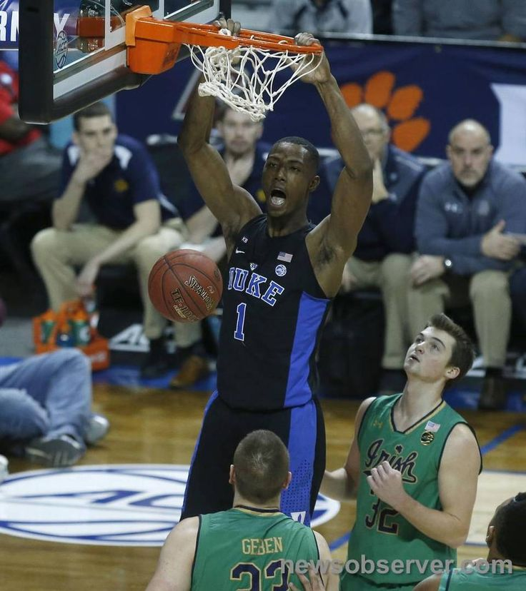 Duke's Harry Giles (1) slams in two during the first half of Duke's game against Notre Dame in the finals of the New York Life ACC Tournament at the Barclays Center in Brooklyn, N.Y., Saturday, March 11, 2017.