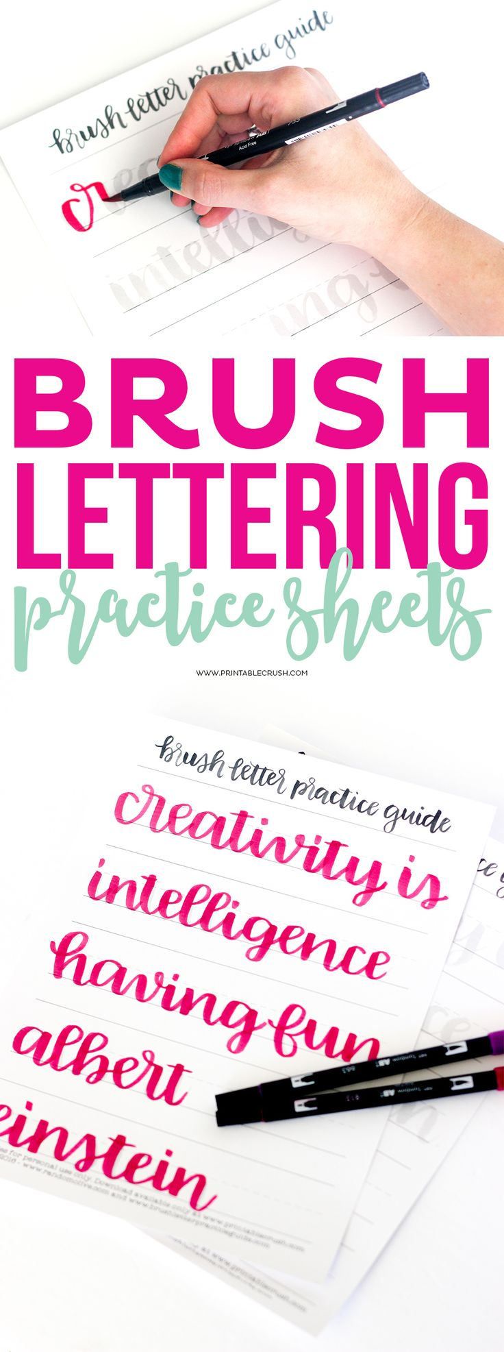 Use this Brush Lettering Practice Sheet to get you started with your lettering skills! These were designed by the super talented Olivia from Random Olive!