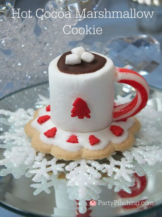 hot cocoa marshmallow cookies, easy hot cocoa cookies, cute cookies for Christmas, easy Christmas cookies, partypinching.com