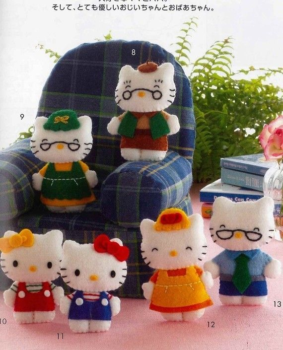 Hello Kitty and Friend Felt Character Mascots  by MeMeCraftwork, $24.00