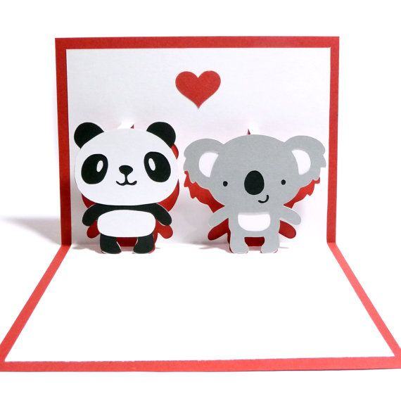 Panda y el Koala en amor Pop-Up tarjetas