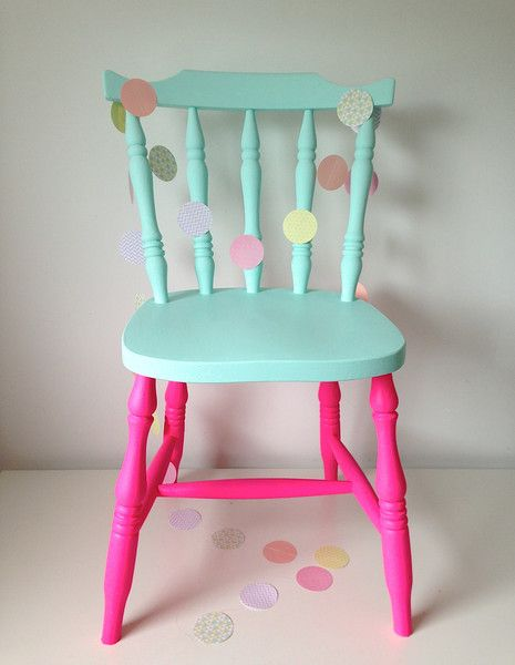 I know to paint older furniture to spruce it up, but come on! How cute is this?! How great these particular colors go together!