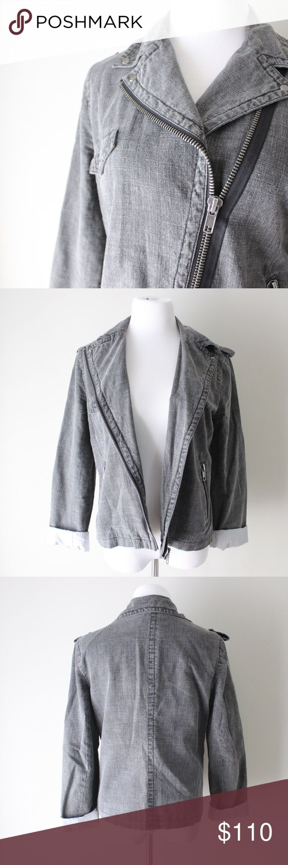 Charlotte Ronson Pinstripe Lined Denim Jacket Charlotte Ronson gray denim jacket with front zip closure.  Fits true to size.  In gently used good condition.  Measurements available upon request.  All orders ship same or next business day! Charlotte Ronson Jackets & Coats