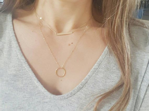 Gold Circle Necklace, Gold Bar Necklace, Layering Necklace, Dainty Gold Jewelry  Etsy listing at https://www.etsy.com/listing/505699266/circle-necklace-gold-circle-necklace