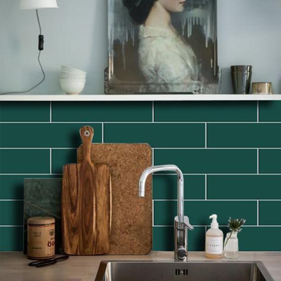 Kitchen And Bathroom Splashback Removable Vinyl Wallpaper Etsy In 2020 Bathroom Splashback Splashback Vinyl Wallpaper