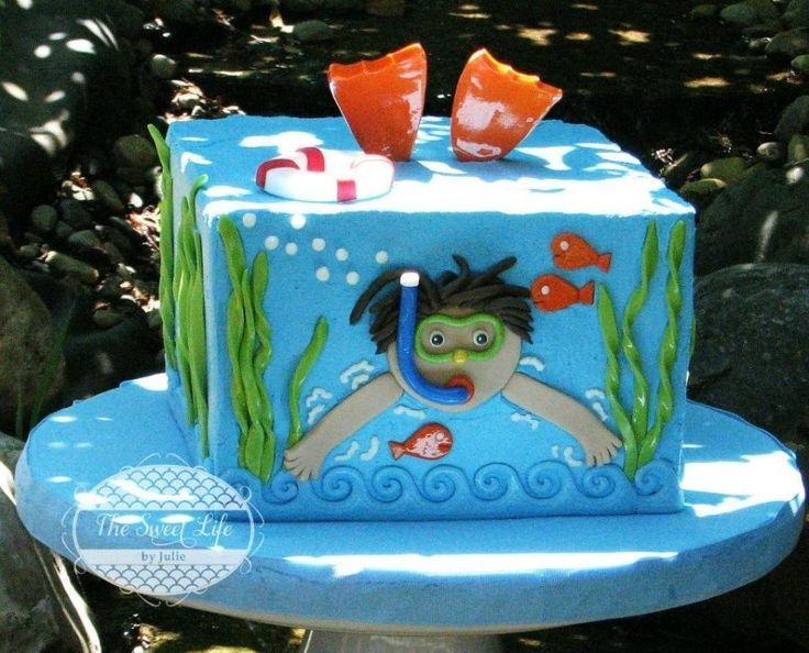 Scuba Diver Birthday Cake For Boys cakepins.com
