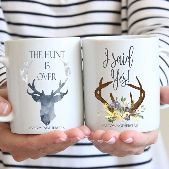 Engagement Annoucement Mugs, The Hunt is Over, I said Yes,  Mug Set, Newly Engaged Gift, Bride to be,  Personalized Engagement Gift, Custom
