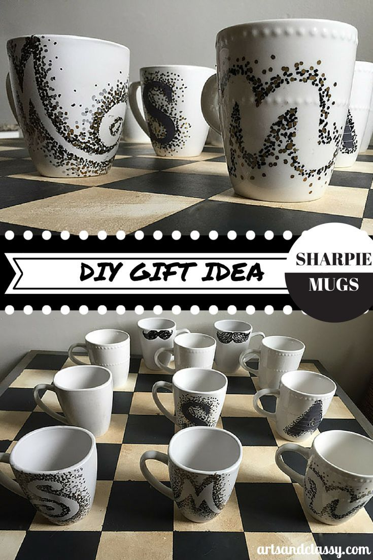 DIY Cost Effective Gift Idea for Any Occasion! DIY Sharpie Mugs with Oil Based Sharpies and Mugs from the 99 cent store at www.artsandclassy.com