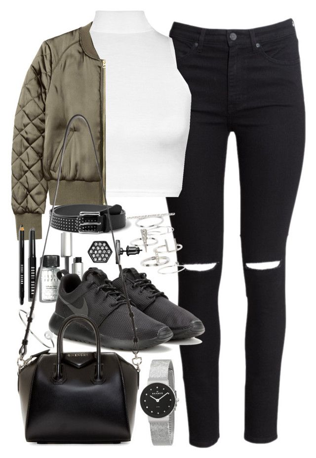 """Outfit with a bomber jacket and roshes"" by ferned ❤ liked on Polyvore featuring H&M, WearAll, Bobbi Brown Cosmetics, NIKE, MANGO, Simply Vera, Skagen, Topshop, Givenchy and women's clothing"