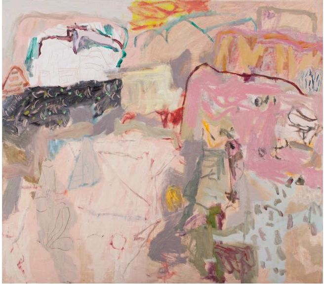 Elisabeth Cummings Paintings The Pink Outcrop 2013 Oil on Canvas 105x130cm