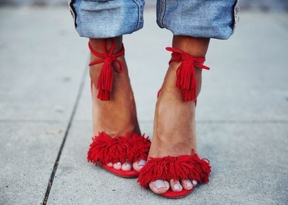 Subasta sandalias Aquazzura rojas. Modelo Wild Thing.