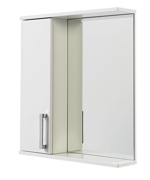 Ardenno Single Door White Gloss Mirror Cabinet House Bathroom Mirror Cabinets Single Doors Cabinet