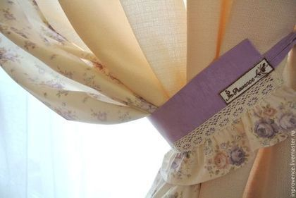 Шторы сиреневые в детскую для девочки с подхватами Шебби Шик, Прованс. Текстиль для детской в стиле Шебби Шик. Шторы для девочки.