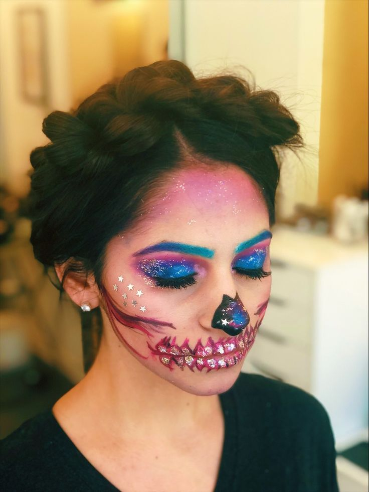 Who S Ready For Halloween Halloween Makeup Hairstyle By Goldplaited Sugar Skull Skull Makeup Halloween Makeu Sugar Skull Makeup Galaxy Makeup Makeup