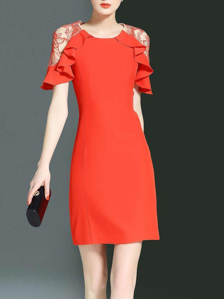 #AdoreWe #StyleWe Mini Dresses❤️Designer LONYUASH Orange Ruffled Bodycon Frill Sleeve Mini Dress - AdoreWe.com