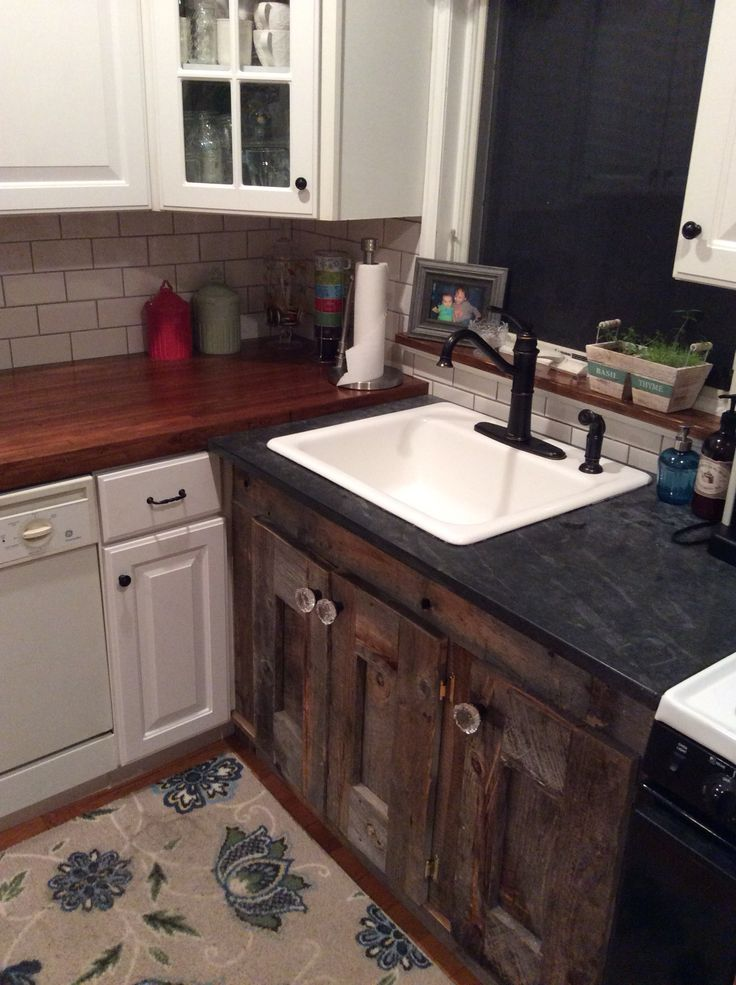 DII kitchen sink base made with reclaimed wood.
