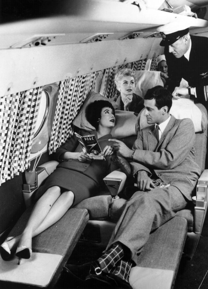 Vintage Air Travel:Passengers relaxing on the sleeper seats in the new Comet 4 during a demonstration flight at Hatfield. The plane, which is fitted out in accordance with an interior decor scheme designed for BOAC aircraft by Gaby Schreiber, flew from New York to London in under six and a half hours, date unknown.
