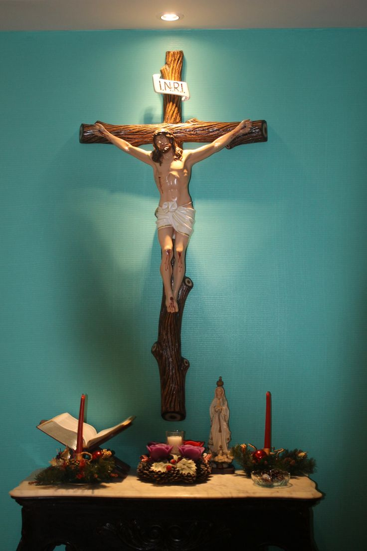 Catholic Home Altar idea; I have a huge crucifix I don't know what to do with ...