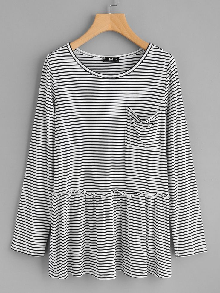 Shop Pocket Front Frill Detail Striped Smock Top online. SheIn offers Pocket Front Frill Detail Striped Smock Top & more to fit your fashionable needs.