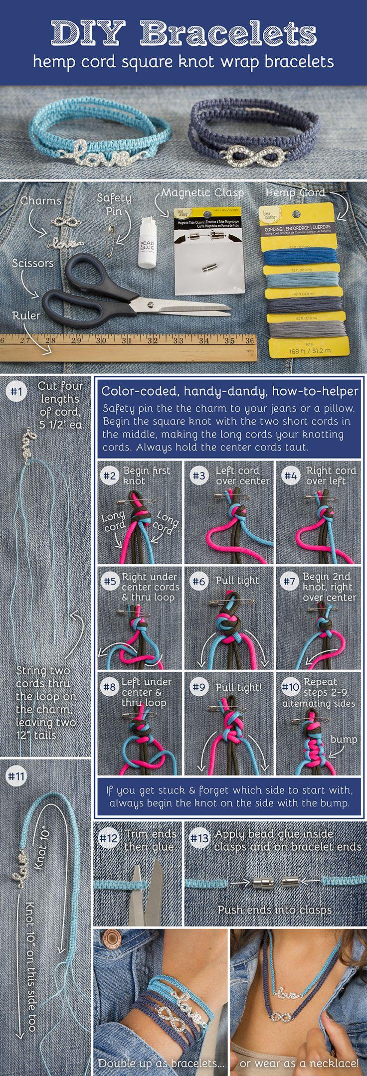 DIY Infinity Hemp Bracelet - easy to create square knot wrap bracelets