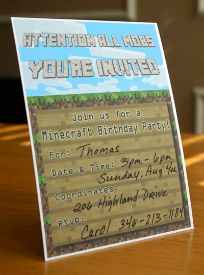 Minecraft Invitation: A Printable Invitation, DIY Minecraft Birthday Invitation, for an Awesome Minecraft Party!