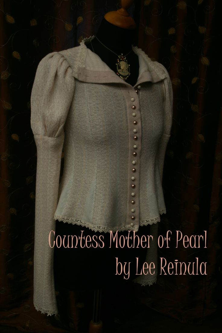 Knitted bridal jacket Countess Mother of Pearl, Lee Reinula atelier 2014, merino and lace