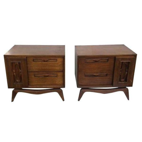 Image of Danish Modern Bedside Tables - A Pair