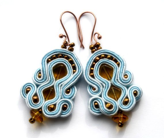 ray of light  soutache earrings  free shipping  by KimimilaArt