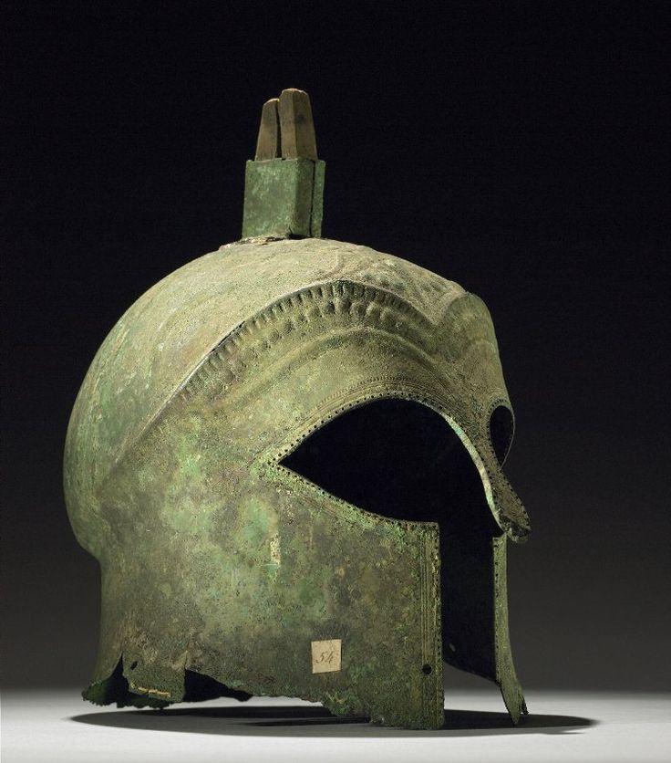 Bronze helmet of Corinthian type (ca. 600-550 BC) from Ruvo di Puglia (Bari) Italy - British Museum