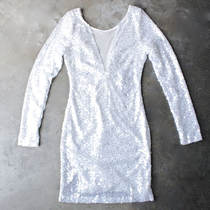dazzling white sequin party dress - shophearts - 1