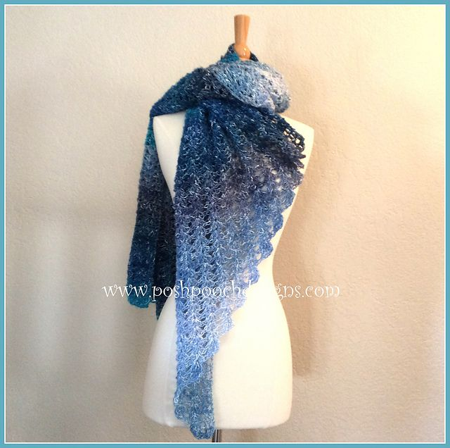 Make this beautiful extra large wrap by Posh Pooch Designs with 2 balls of Lion Brand Shawl in a Ball!
