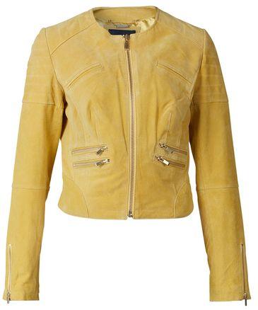 Yellow leather jacket for women / Geel leren jasje dames - Capri | BLUEGOLD http://www.bluegold.nl/geel-leren-jasje-dames-Capri/