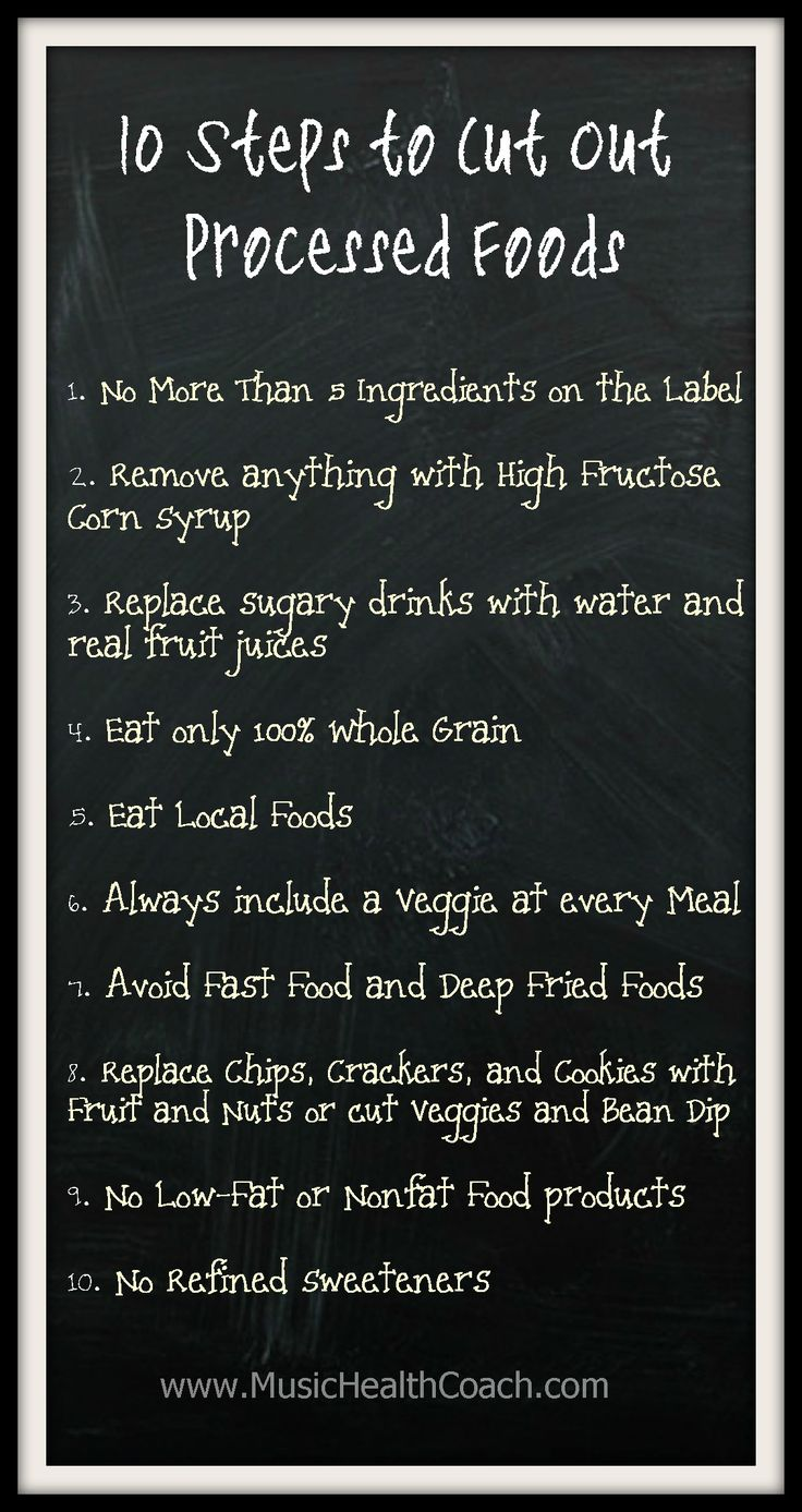 10 Steps to Cut Out Processed Foods. www.MusicHealthCoach.com