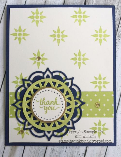 Stampin Up Eastern Palace Suite, Eastern Beauty, Medallions. Kim Williams, stampin with kjoyink, pink pineapple paper crafts. This bundle is a special sale during May. Card ideas with over 45 ways use the framelits. Love the lemon lime twist and night of navy together. Perfect for scrapbooking as well.