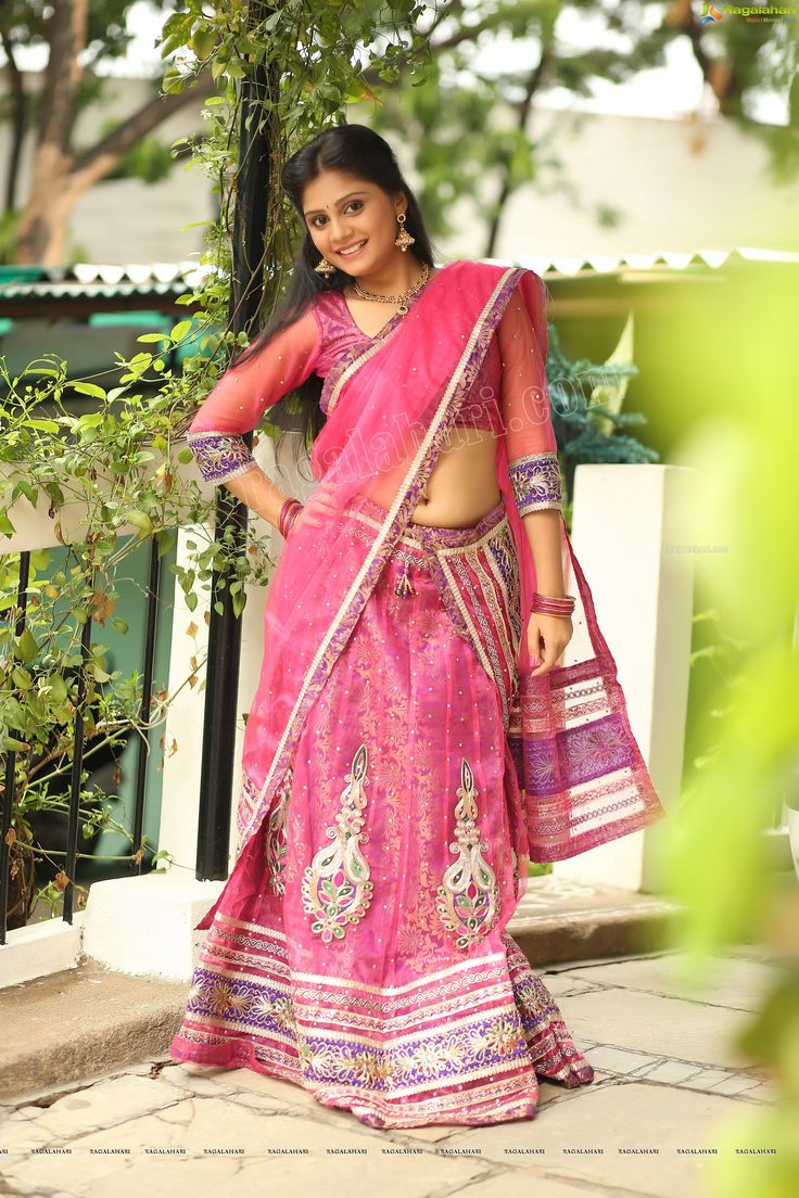 Harisha Kola In Pink Half Saree Harisha Kola High