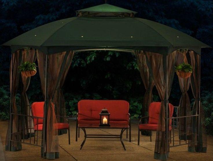 Hexagonal Gazebo Steel Frame Green Vented Metal 10x12 Mosquito Netting Tent Dome | eBay
