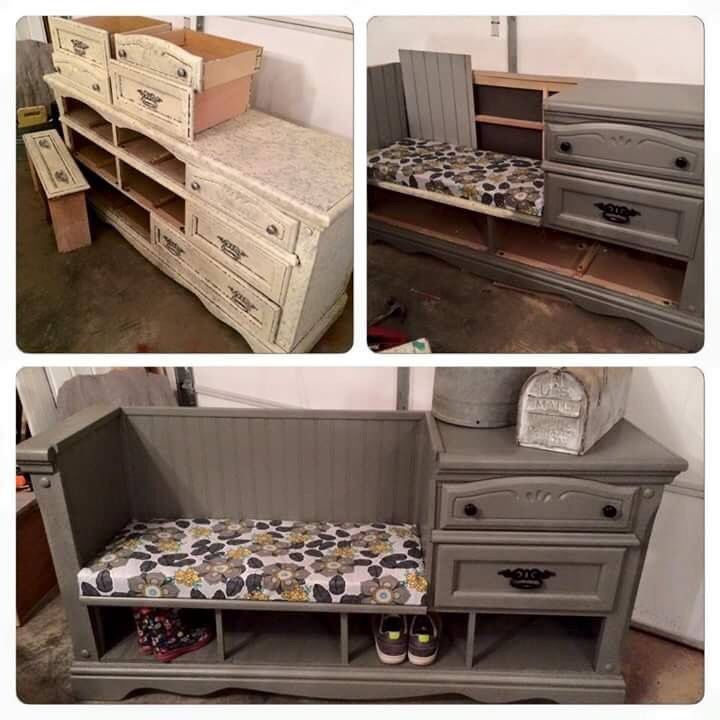 Great idea--conversion of dresser to beautiful place to sit down and remove your shoes. So nice it can be in many locations--not just a mud room!