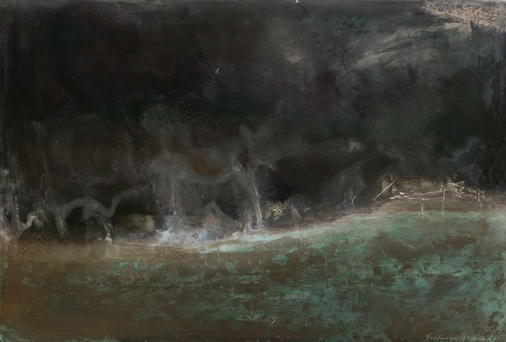 Frédérique Domergue | Untitled XX | Oxidized zinc and bronze leaf on wood panelling, patina fixed with beeswax polish | www.artistics.com... | #Abstraction #Abstract #Metals #Oxidation #Horizon #Art #Artist #ArtWork #FineArt #LivingWork #Seaside #Landscape #Element #Artistics #ArtisticsGallery