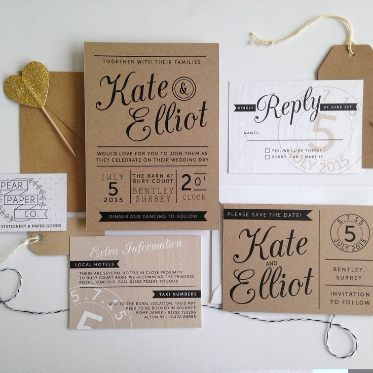 casual evening wedding invitation wording%0A Kraft Stamp Wedding Invitation