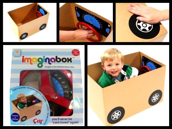 """$19.95 Get more mileage out of empty cardboard boxes with Imaginabox®. /      Imaginabox® Car – the simple, but practical kit that turns any cardboard box into a car...brrrroom! /      Developed to stimulate children's imaginations - all moving plastic parts & stickers are reusable, recyclable and simple to assemble...children will never be """"card-bored"""" again!"""