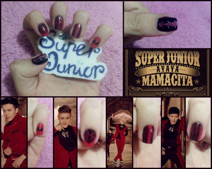 Super Junior MAMACITA (Ayaya) MV inspired nail art #Kpop #SuperJunior #Siwon #Donghae #Eunhyuk #Leeteuk #MAMACITA #nails #nailart