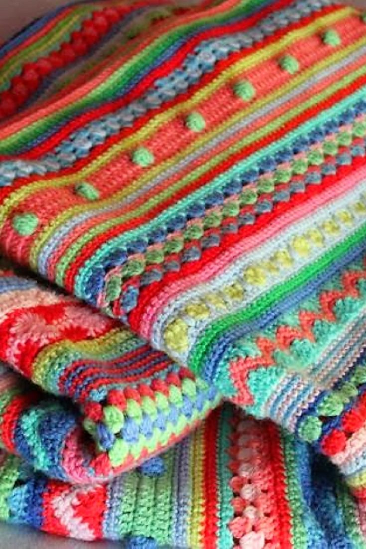 [Free Pattern] Such A Fun Project! This Stripey Blanket Is lovely And Jolly And Perfect For Snuggling Under