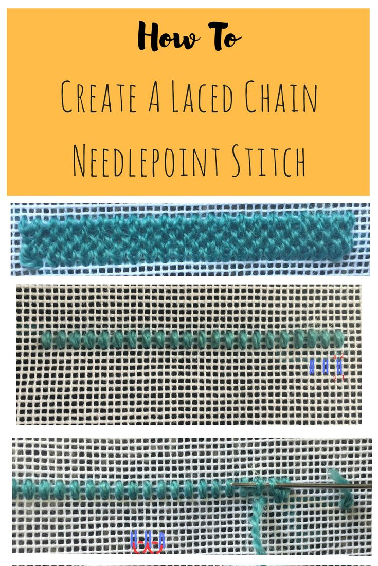 How and where to use a needlepoint Laced Chain stitch. It's so pretty!