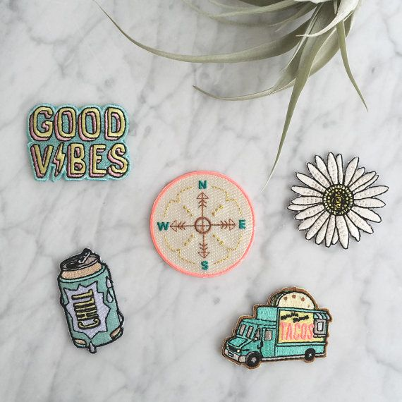 Music Festival Patch - Iron On Set of 5 Patches: Compass – Taco Food Truck – Chill Beer Can – Good Vibes – Daisy - Embroidered Appliques