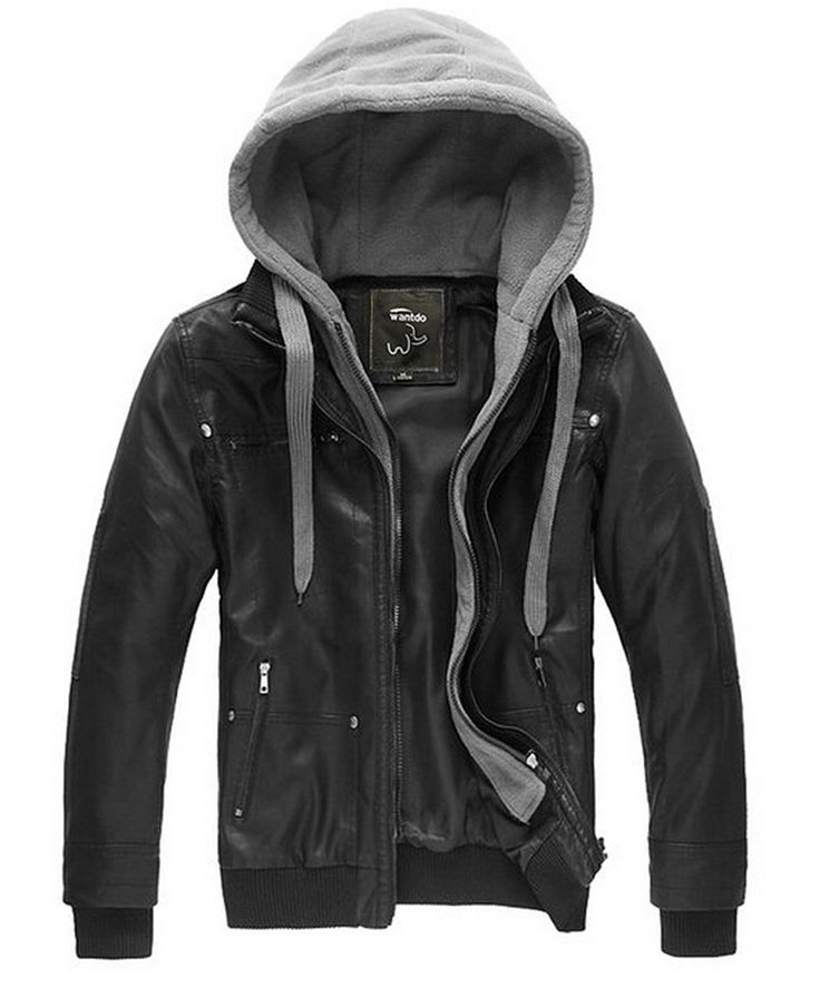 WantDo Mens Fashion Leather Jackets with Removable Hood. Detachable Storm Hoodie, Vertical Zip Front and Ribs Cuffs. Faux Pu